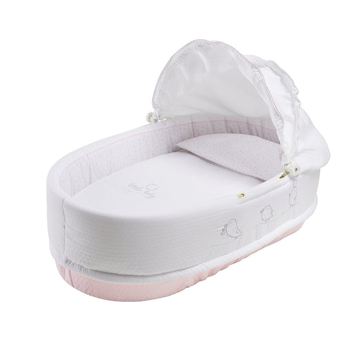 PETIT PRAIA Piu Piu Rosa 100 Percent Soft Pique And Printed Cotton Linned Carrycot With Hat (80 x 36 x 23 cm, White/Rose)