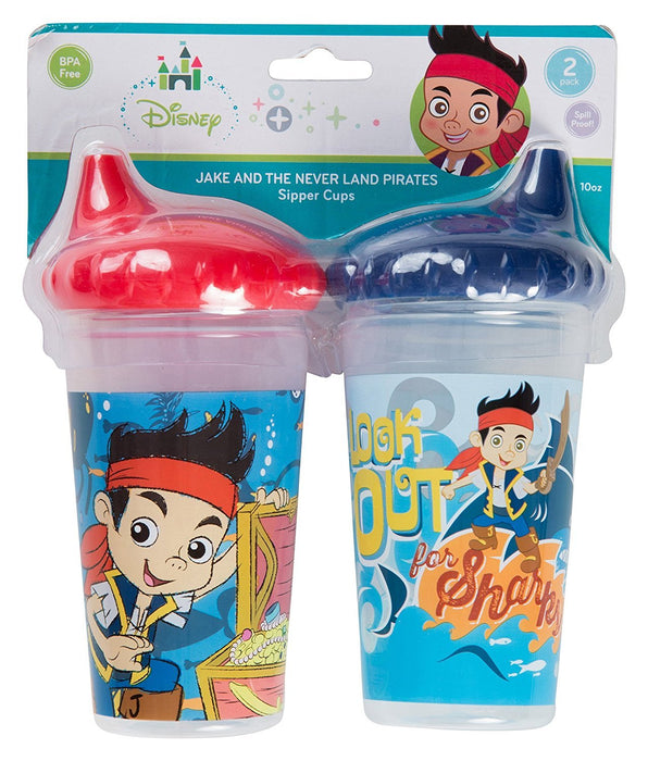 Disney Jake and The Neverland Pirates Slim Sippy Cups, Blue/Red, 2 Count