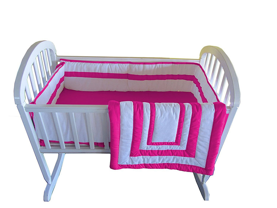 Baby Doll Bedding Modern Hotel Style Cradle Bedding, Hot Pink