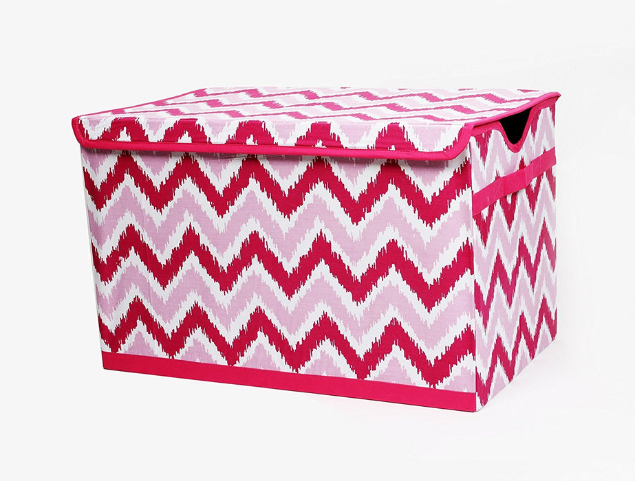 Bacati Zigzag Storage Tote Toy Chest, Pink