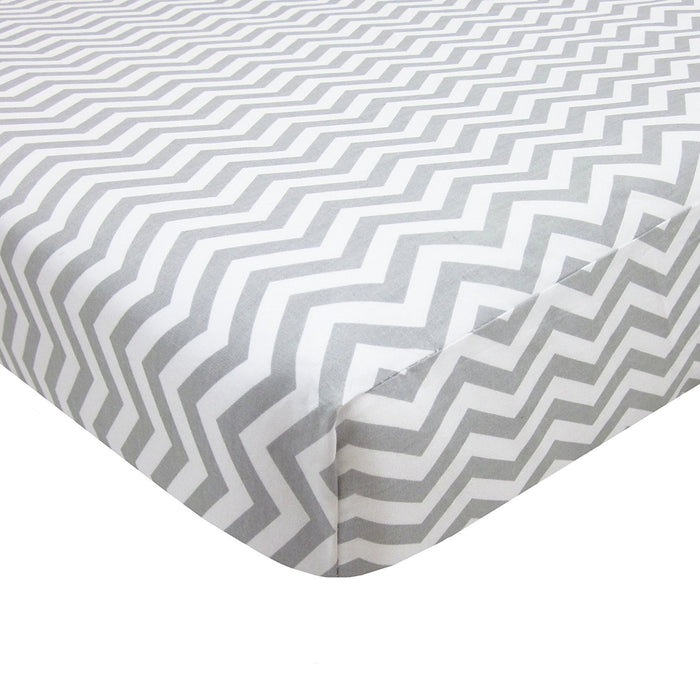 American Baby Company 100% Cotton Percale Fitted Portable/Mini-Crib Sheet, Zigzag Grey