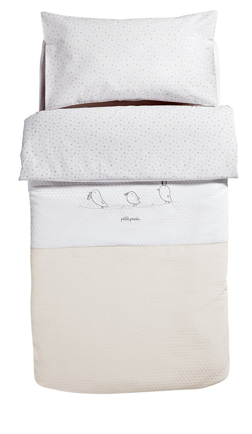 PETIT PRAIA Piu Piu Fitted Sack for Cot (60 x 120 cm, White/Beige)