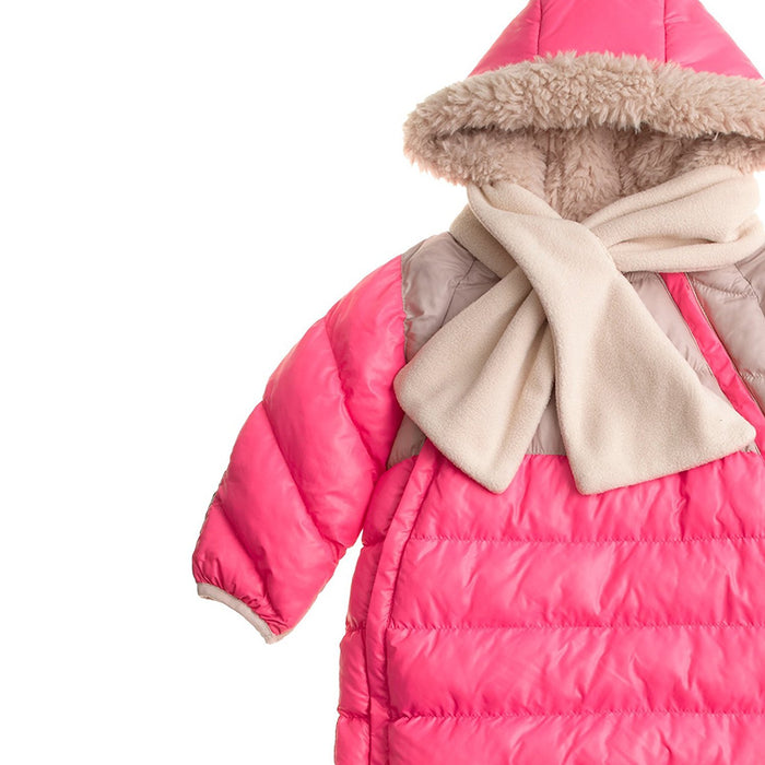 7AM Enfant Doudoune One Piece Infant Snowsuit Bunting, Neon Pink/Beige, Small