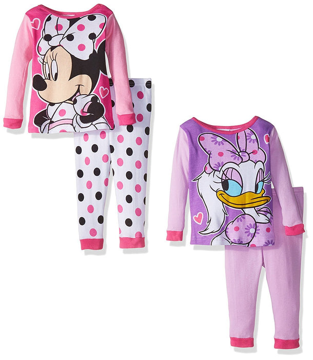Disney Girls' Minnie Mouse 4-Piece Pajama Set, Assorted, 18 Months