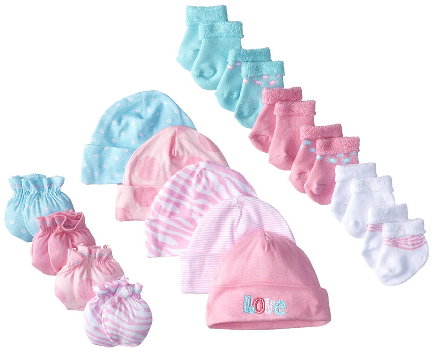 e2037e2033d49 Gerber Baby Newborn Love 15 Piece Socks Caps and Mittens Essential ...