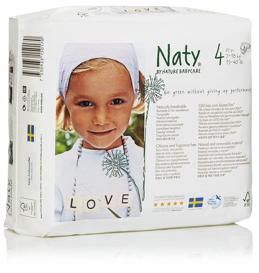 Naty by Nature Babycare ECO Nappies - Size 4, 4 x Packs of 27 (108 Nappies)