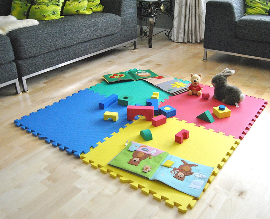 "Non-Toxic 24"" X 24"" X~9/16"" Extra Thick Baby Non-Recycled Quality Rainbow Waterproof Playmats (Set of 4)"