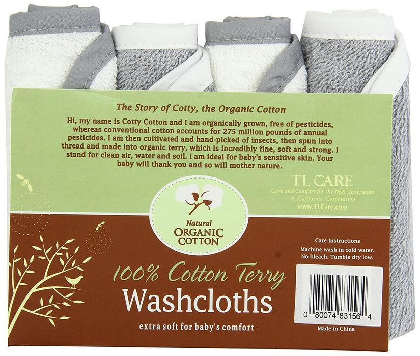 American Baby Company Terry Washcloths made with Organic Cotton, Gray, 4 Count