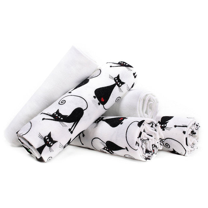 Lulando 5906395189410 Fabric and Washable Nappies Pack of your baby blankets in Kitten Set of 5, 70 x 80 cm White