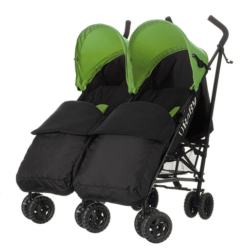 Obaby Apollo Black/Grey Twin Stroller and Black Footmuffs (Lime)