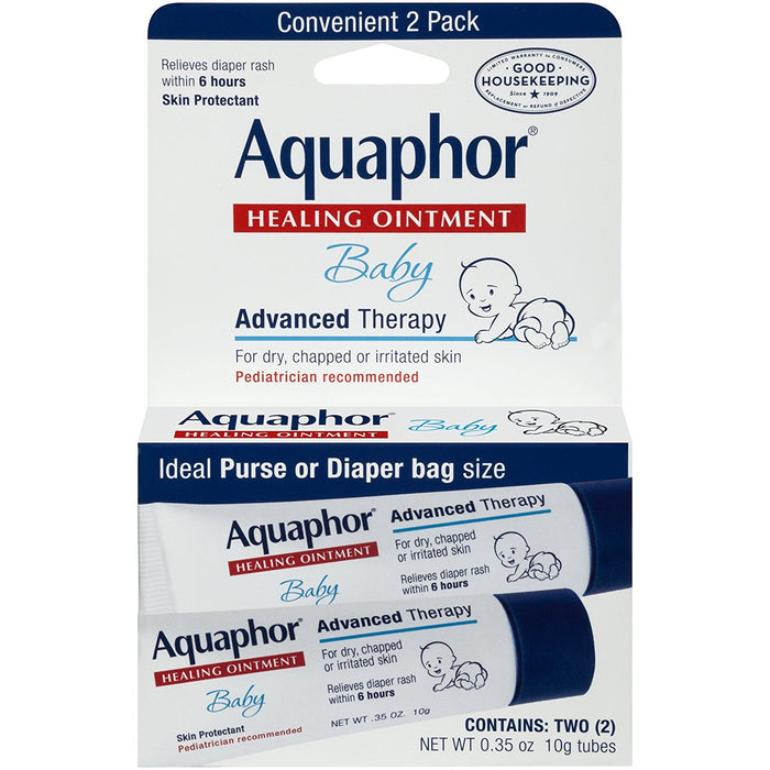 Aquaphor Baby Advanced Therapy Healing Ointment Skin Protectant 2-.35 Ounce Tubes
