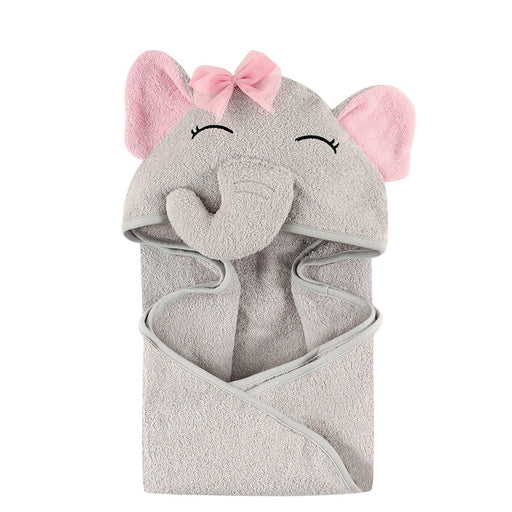 Hudson Baby Animal Face Hooded Towel for Girls, Pretty Elephant