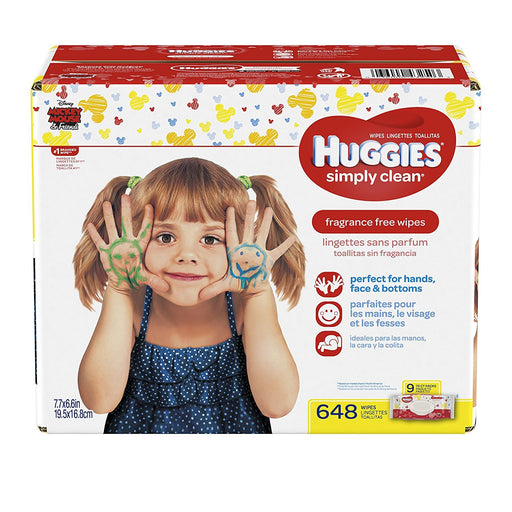 HUGGIES Simply Clean Baby Wipes, Unscented, Soft Pack , 72 Count, Pack of 9 (648 Total)