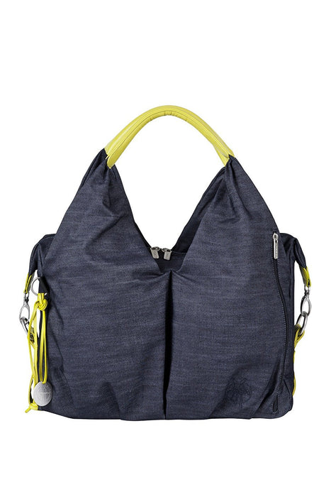 Lassig Green Label Neckline Style Diaper Bag includes matching Bottle Holder, Changing Mat/Pad and Stroller Hooks, Denim Blue