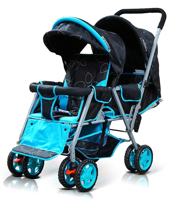 ADELINA Designer Double Stroller, Blue Leaves