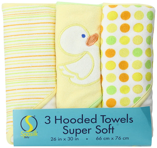 Spasilk 3 pack Soft Terry Hooded Towel Set, Yellow