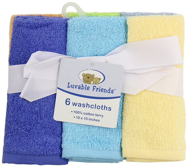 Luvable Friends Washcloths,Colors May Vary, 6-Count