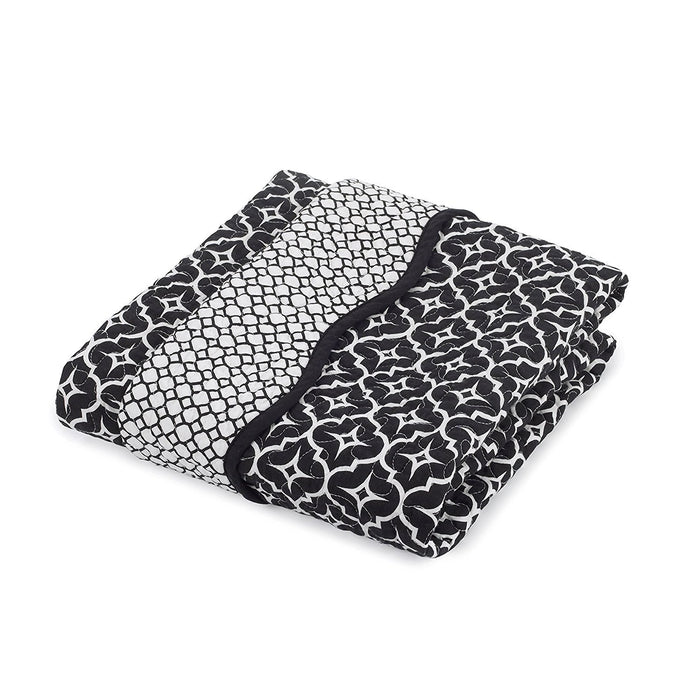 Balboa Baby Cotton Sateen Coverlet, Black Lattice/Diamond