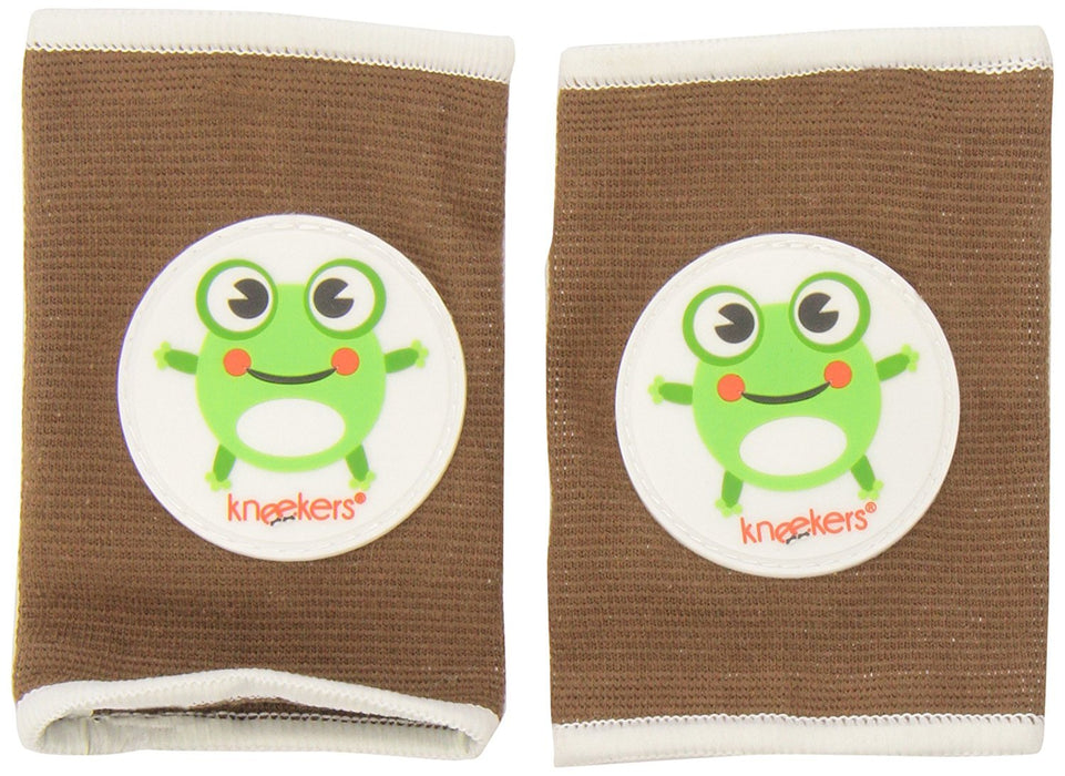 Ah Goo Baby Kneekers Baby Knee Pads for Crawling, Unisex, Hoppy Frog Toffee Pattern, For Chunky Legs