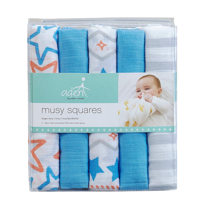 aden + anais Muslin Pack of 5 musy-langes in Small Fry Design 60 cm x 60 cm