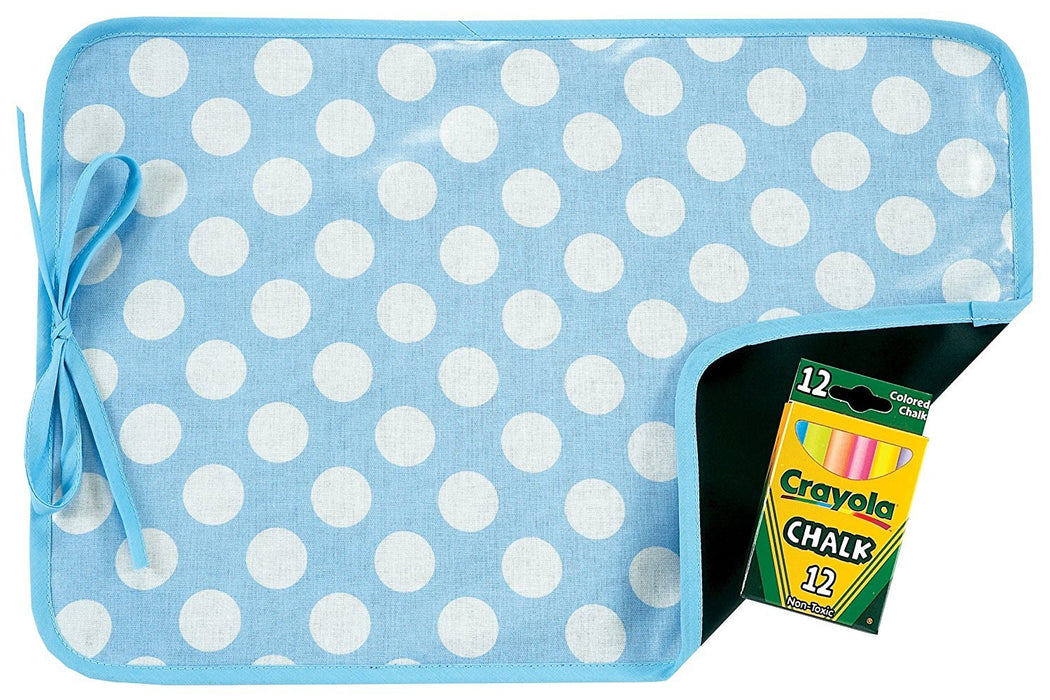 AM PM Kids! Reversible Placemat and Chalkboard, Blue Dots