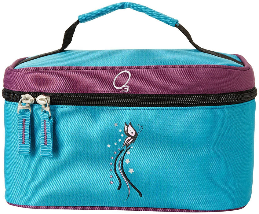 Obersee Kids Toiletry and Accessory Train Case Bag (Turquoise Butterfly)