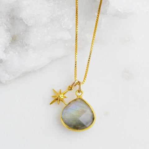 Labradorite and Star Gold Necklace
