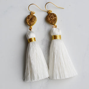 White Silk Tassel and Druzy Earrings - Pink Moon Jewelry