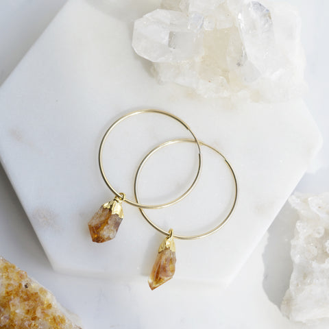 Citrine Gemstone Gold Hoops