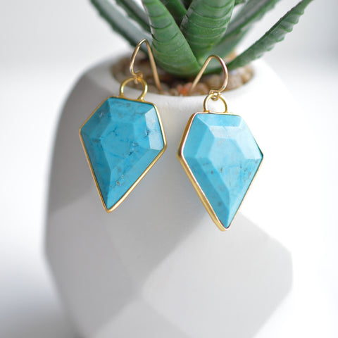 Blue Turquoise Arrowhead Earrings - Pink Moon Jewelry