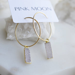 Druzy Gold Hoop Earrings - Pink Moon Jewelry