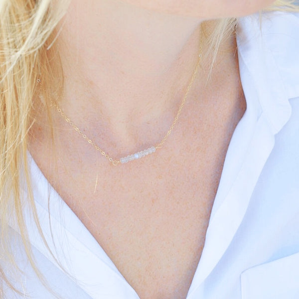 Moonstone Bar Necklace - Pink Moon Jewelry