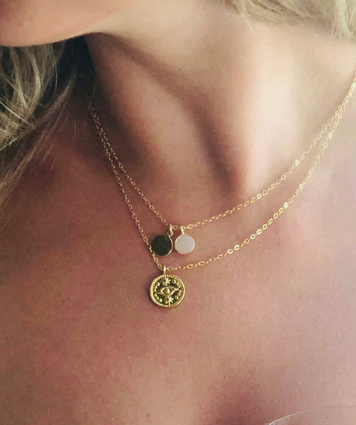 Protection Gold Evil Eye Necklace - Pink Moon Jewelry