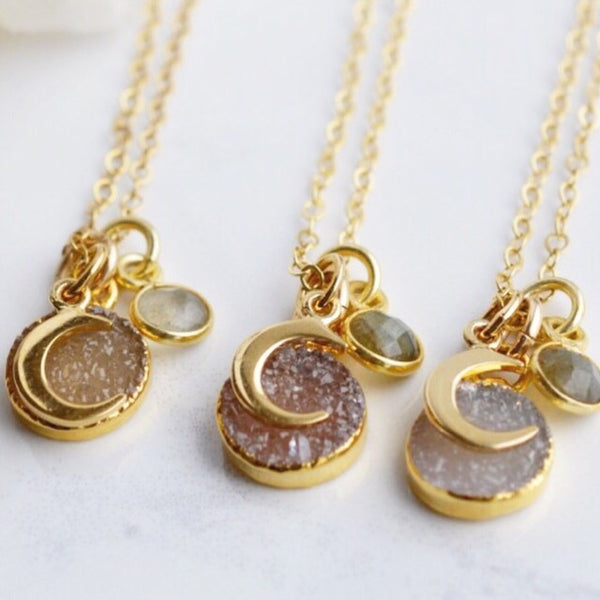 Luna Druzy Necklace - Pink Moon Jewelry
