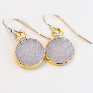 Petite Round Druzy Earrings - Pink Moon Jewelry