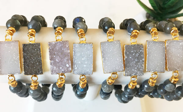 Druzy Stretch Bracelet with Labradorite - Pink Moon Jewelry