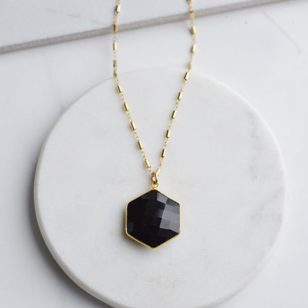 Black Onyx Hexagon Necklace - Pink Moon Jewelry