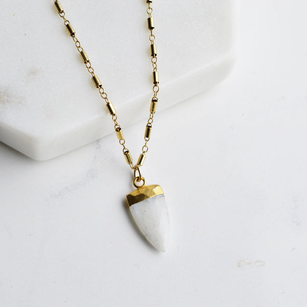 Moonstone Spear Gold Necklace - Pink Moon Jewelry