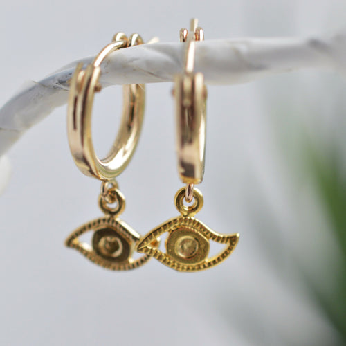 Evil Eye Gold Huggie Earrings - Pink Moon Jewelry