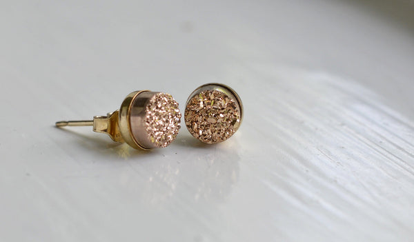 Rose Gold Druzy Stud Earrings - Pink Moon Jewelry