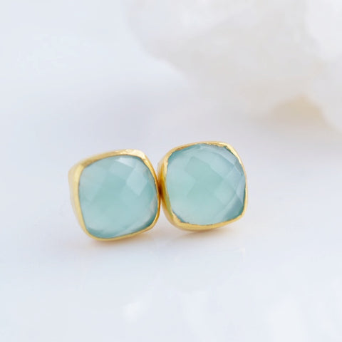 Aqua Chalcedony Stud Earrings - Pink Moon Jewelry