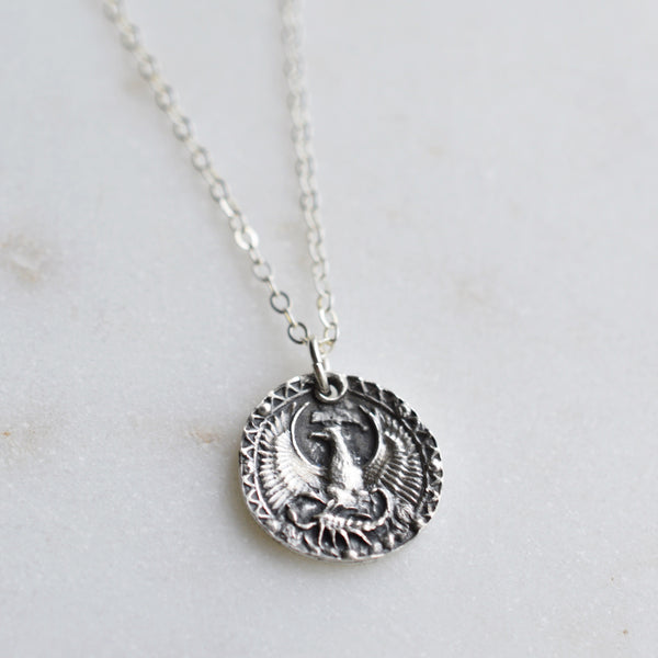 Scorpio - Silver Zodiac Coin Necklace - Pink Moon Jewelry