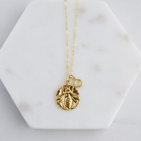 Bee Happy Gold Coin Necklace - Pink Moon Jewelry