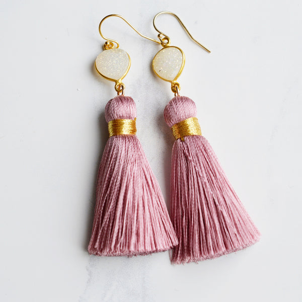 Purple Silk Tassel and Druzy Earrings - Pink Moon Jewelry
