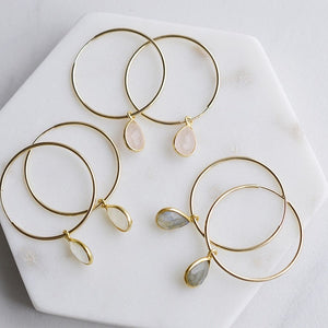 Gemstone Gold Hoop Earrings - Pink Moon Jewelry