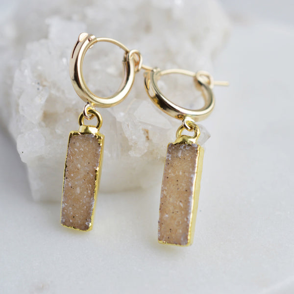 Druzy Gold Huggie Earrings - Pink Moon Jewelry
