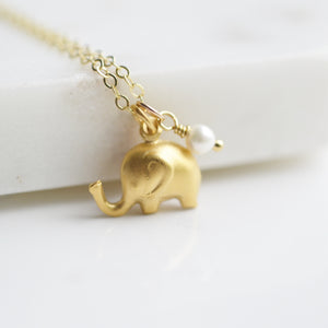 Wisdom - Gold Elephant Necklace - Pink Moon Jewelry