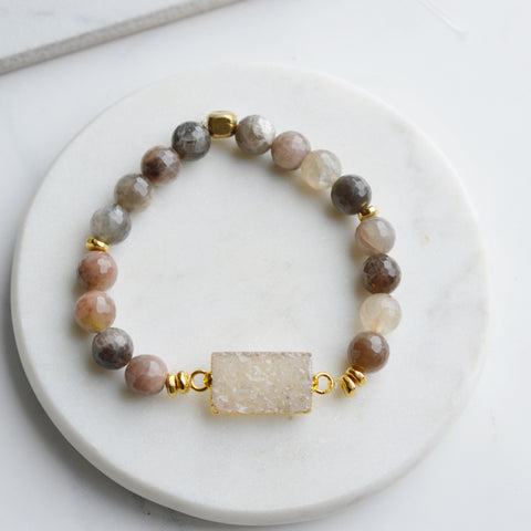 Druzy & Chocolate Moonstone Bracelet - Pink Moon Jewelry