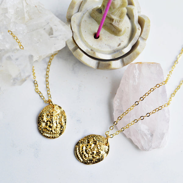 Awakening Gold Coin Necklace - Pink Moon Jewelry
