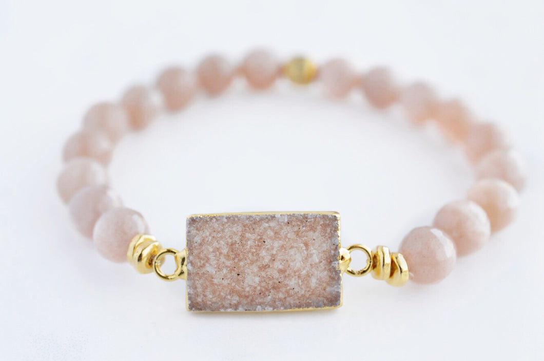 Druzy & Peach Moonstone Bracelet - Pink Moon Jewelry